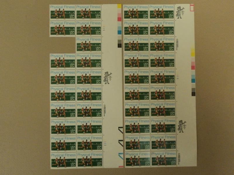 USPS Scott 2043 20c 1983 Physical Fitness Lot of 2 Plate ...
