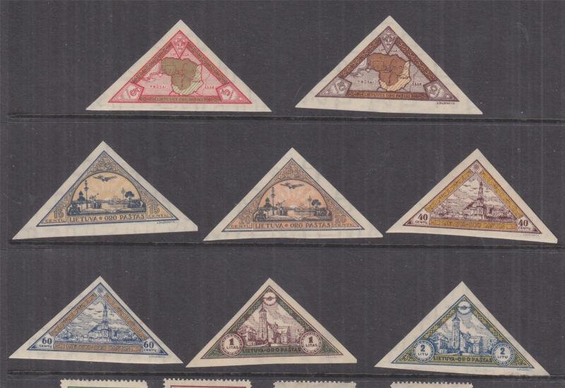 LITHUANIA, 1932 Orphans Fund, Air, imperf. set of 8, mnh.