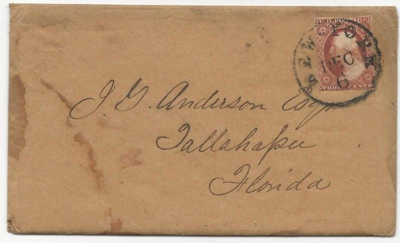 US 19th Century Cover Scott #10a Tied by Black CDS Dec 6, 1851 w/ Letter