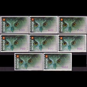 NORWAY 2002 - Scott# 5 Owl Set of 8 NH
