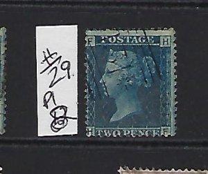 GREAT BRITAIN SCOTT #29 PLATE 8 1858-59 (BLUE) - WMK 20  - USED