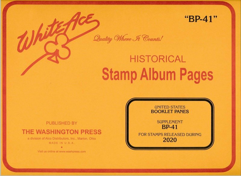 WHITE ACE 2020 US Booklet Panes Stamp Album Supplement BP-41 NEW!