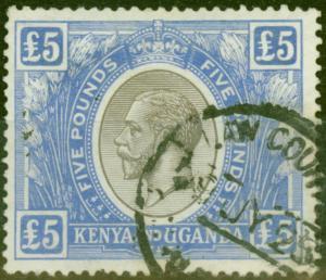 KUT 1922 £5 Black & Blue SG99 V.F.U Fiscal Cancel