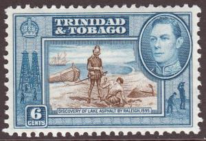 Trinidad & Tobago KGVI 1938 6c Sepia Blue SG250 Mint Lightly Hinged