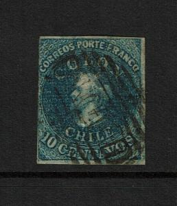 Chile SC# 6 Used / GRILLED PAPER - S7327