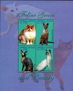 Sierra Leone MNH S/S Cats Feline Grace & Beauty
