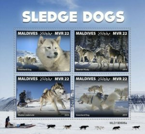 Maldives - 2019 Sledge Dogs - 4 Stamp Sheet - MLD190606a