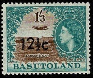 BASUTOLAND QE II 1961 12.5c-1s3d BROWN & GREEN Ty2 SG65a MH Wmk. MSCA P.13.5 VGC