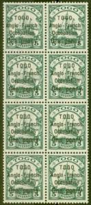 Togo 1914 1d on 5pf Green SGH28 V.F MNH Block of 8
