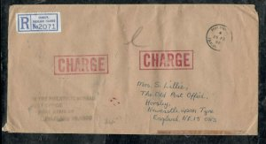 FALKLAND ISLANDS COVER (PP0301B) 1986 REG STAMPLESS COVER SHORT PAID TAXED TO UK