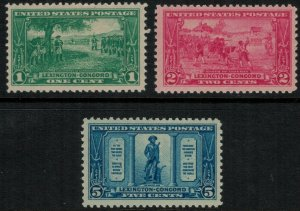 U.S. #617-9* NH Lexington-Concord Issue CV $39.00
