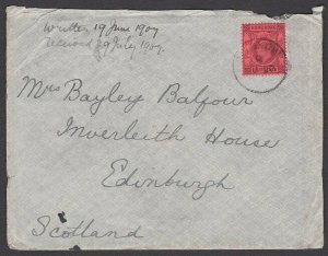HONG KONG USED IN HANKOW 1907 EVII 4c on cover to Scotland..................T497