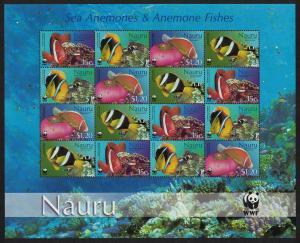 Nauru WWF Anemones and Anemonefish Sheetlet of 4 sets SG#566-569 MI#553-556