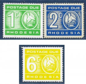 Rhodesia sg D18-9,21 MNH 1970-3 Postage Due part set 3 of 5