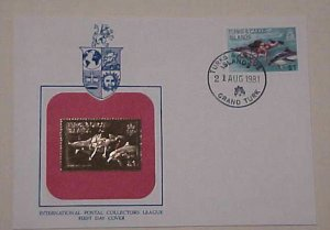TURKS & CAICOS GOLD FOIL 1981 DIVING WITH DOLPHINS CACHET UNADDRESSED