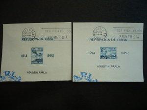 Stamps  - Cuba - Scott# C61a - C62a - Used Set of 2 Souvenir Sheets - FDC