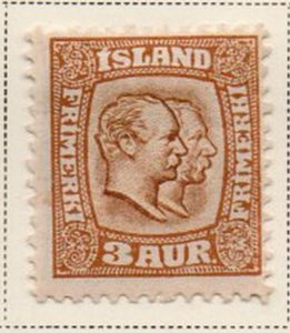 Iceland Sc 72 1907 3 aur yellow brown & ochre 2 Kings stamp mint