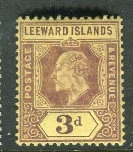 LEEWARD ISLANDS; 1907 early Ed VII issue fine Mint hinged 3d. value