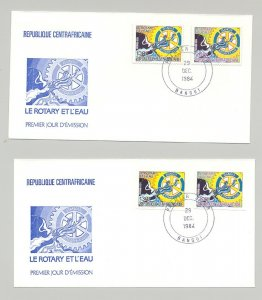 Central Africa 1984 Rotary 2v Perf & Imperf & 2v Deluxe S/S Perf & Imperf 6 FDC