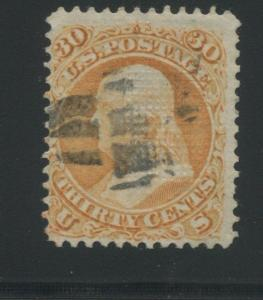 1868 US Stamp #100 30c Used F/VF Cork Cancel Catalogue Value $900 Certified