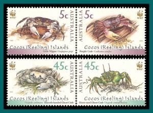 Cocos 2000 WWF Crabs, MNH 333,334,SG389a,SG391a
