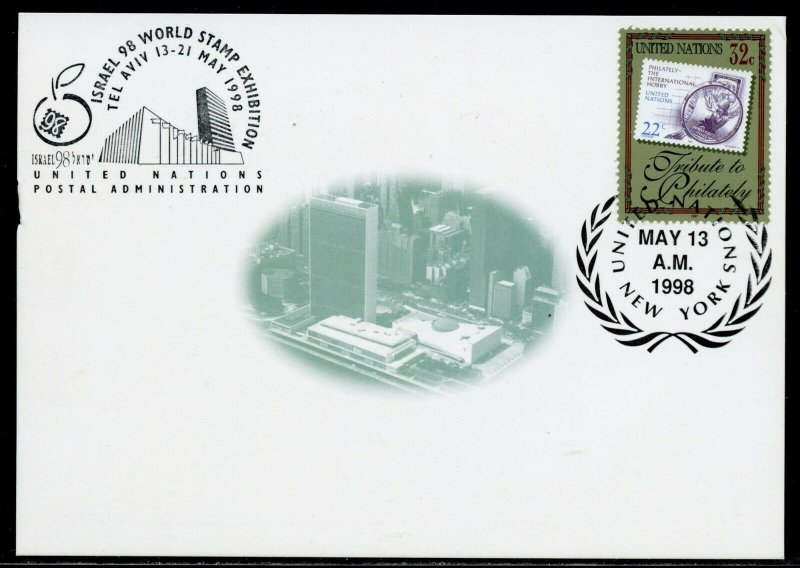 UNITED NATIONS LOT OF  7  1998 INT'L SHOW CARDS WITH SHOW CANCELATIONS