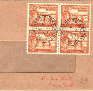 TURKS & CAICOS KGVI Cover 2½d Block {4} WW2 1942 {samwells-covers} PB278