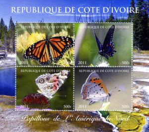 Butterflies of NORTH AMERICA Sheet (4) Perorated Mint (NH)
