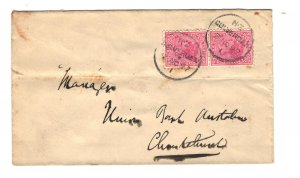 New Zealand Sc#61 Pair Used on Cover to Union Bank of Australia 1897