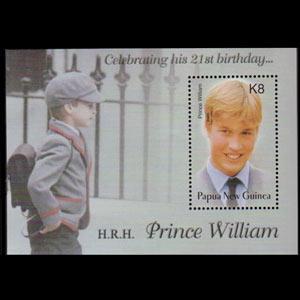 Papua New Guinea MNH S/S 1077 Prince William's 21st Birthday 2002