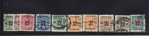 Denmark Scott #'s 145 - 154 VF used neat cancels nice color cv $ 292 ! see pic !