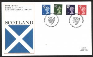 Great Britain Scotland New Definitive Values (1974) FDC