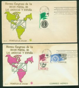 MEXICO 970, C314-C315 CONGR POSTAL UNION OF THE AMERICAS & SPAIN.2 FDCs VF. (26)