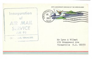UXC6 FFC First Flight Cover AM 98 Crossville TN Jul 9 1967 Air Mail Postal Card