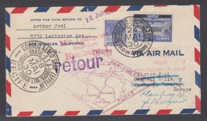 Brazil Sc 254, 4CL5 on 1930 Zeppelin Pan American Flight cover RECIFE to GERMANY
