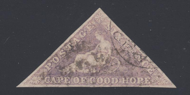Cape of Good Hope Sc 14 used. 1863 6p purple Seated Hope triangular, Packet CDS