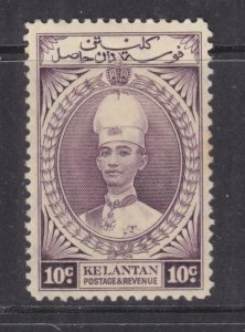KELANTAN, 1937 Sultan Ismail, 10c. Purple. lhm.