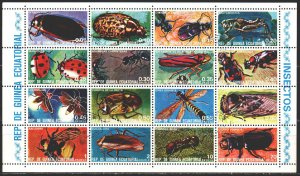 Equatorial Guinea. 1978. Small sheet 1370-85. Insects, fauna. USED.