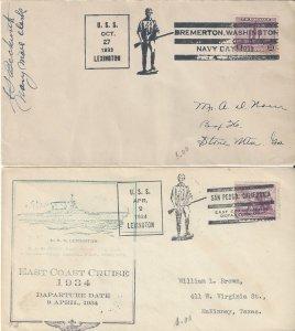 US Naval Cover USS Lexington  CV2  1933, 1934  Navy Day, San Pedro, CA