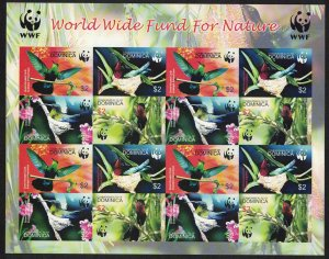 Dominica Birds WWF Caribs Imperforated Sheetlet of 4 sets SG#3412-3415