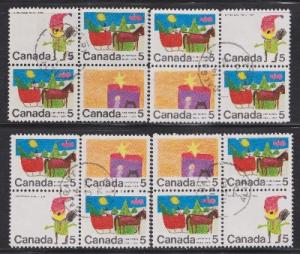 Canada #519, 520 and 521 Christmas - Set of 4 used blocks of 4