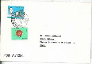 FLOWERS \ ORCHIDS - POSTAL HISTORY  BOLIVIA : COVER to ITALY