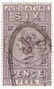 (I.B) QV Revenue : Judicature Fees 6d (1881)