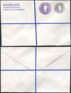 RSP16 2/- Grey and 3d Violet Stamped to Order Registered Envelope