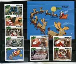 ANGUILLA 1981 DISNEY CHRISTMAS SET OF 9 STAMPS & S/S MNH