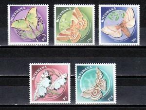 Botswana, Scott cat. 688-692. Butterflies and Moths issue.