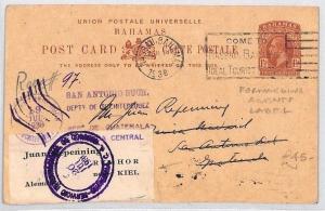 CB35 1938 BAHAMAS KGV UPU Card Guatemala *Forwarding Agents Label* Kiel Germany