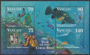 Vanuatu 1997 MNH Sc #696b Lady, Wreck of Pres. Coolidge, Reef, Grouper - Year...