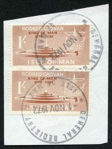 Isle of Man 1/- Brown Pair QEII Pictorial Revenues CDS On Piece
