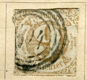GERMANY THURN & TAXIS; 1852 early classic Imperf issue used 9k. value